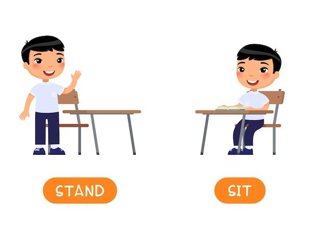 Tegenstellingen concept stand and sit educatieve woordkaart Premium Vector
