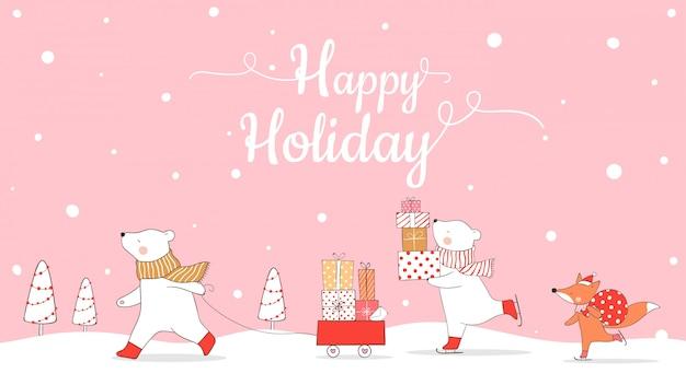 Teken banner ijsbeer en vos met cadeautjes voor kerstmis.