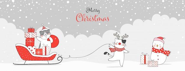 Teken banner kat met cadeautjes in santa slee voor kerstmis.