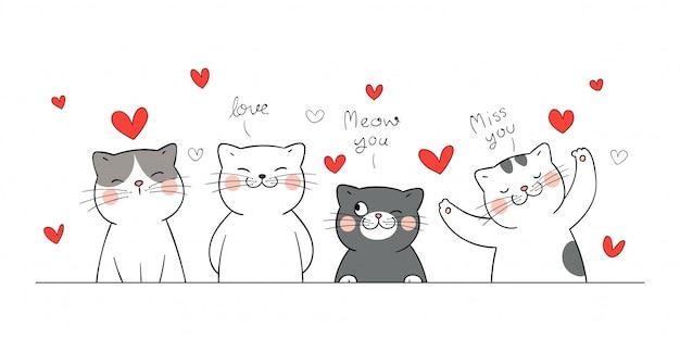 Teken banner kat met kleine hart voor valentijn.