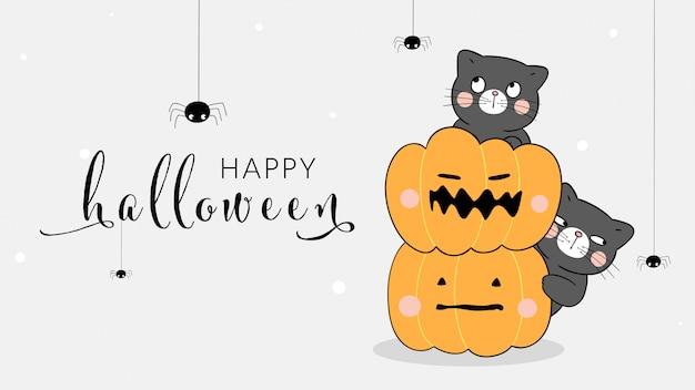 Teken banner kat met pompoen en spin. voor halloween.
