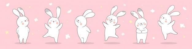 Teken banner konijn op roze pastel voor het lenteseizoen.