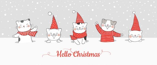 Teken banner schattige kat in sneeuw voor kerstmis en nieuwjaar.