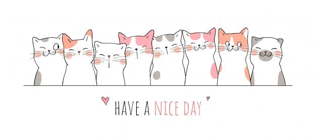 Teken banner schattige kat met woord hebben een mooie dag.