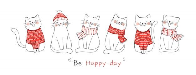 Teken banner schattige kat voor eerste kerstdag en nieuwjaar.