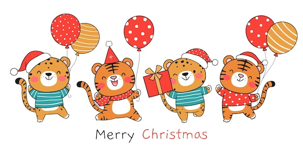 Teken banner tijger met ballon en cadeau voor nieuwjaar en kerst
