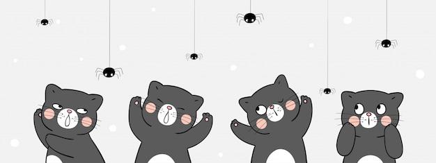 Teken banner zwarte kat met spin. voor halloween.
