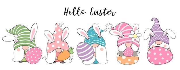Teken bannerkabouters met eieren voor pasen en de lente