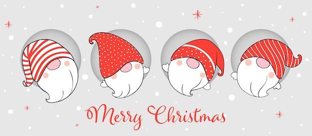 Teken bannerkabouters voor de winter en kerstmis.