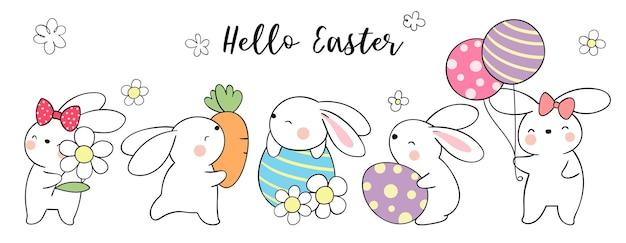 Teken bannerkonijntje met eieren voor pasen en de lente