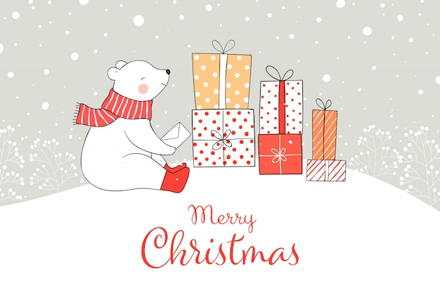 Teken beer met geschenkdoos in sneeuw voor kerstmis en nieuwjaar.