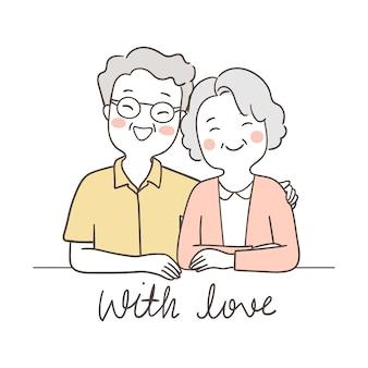 Teken bejaarde senior grootvader knuffel grootmoeder met liefde