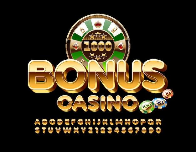 Teken bonus casino met roulette en chips. gouden alfabetletters en cijfers. glanzend rijk lettertype