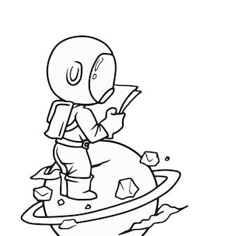 Teken cartoon astronaut