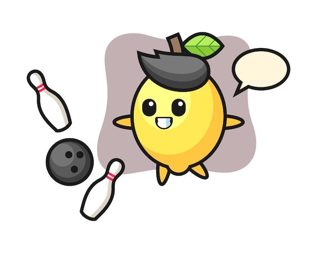 Teken cartoon van citroen speelt bowlen
