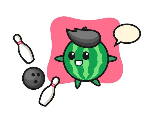 Teken cartoon van watermeloen speelt bowlen