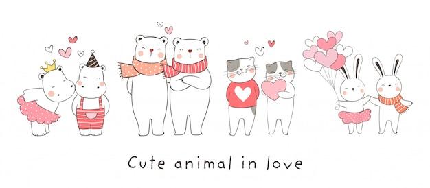 Teken collectie dier verliefd