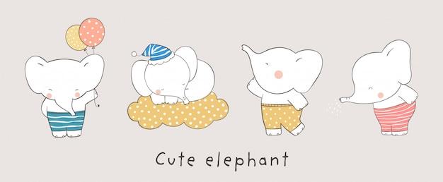 Teken collectie olifant doodle cartoon-stijl.