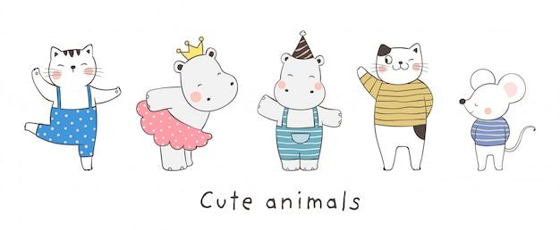 Teken collectie schattig dier op wit.