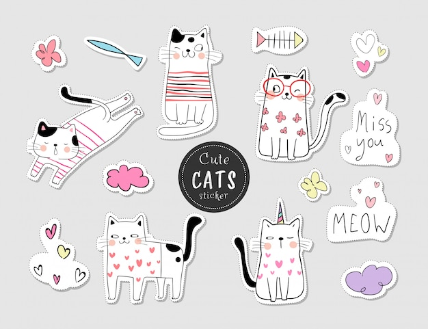 Teken collectie stickers cat.doodle cartoon stijl.