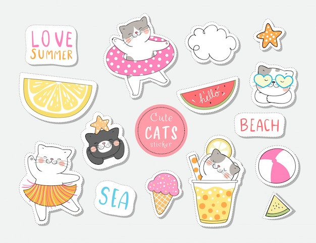 Teken collectie stickers kat in de zomer.