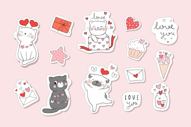 Teken collectie stickers kat in valentijn concept. doodle cartoon stijl.