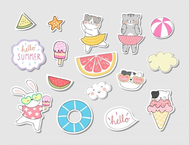 Teken collectie stickers kat in zomer concept.
