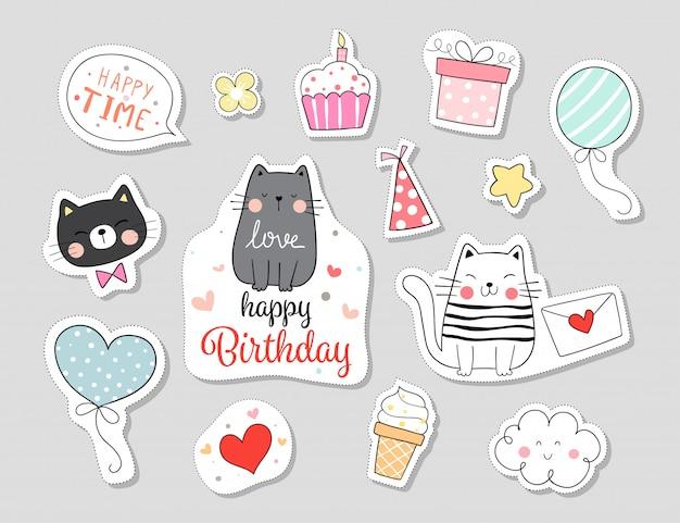Teken collectie stickers kat met gelukkige verjaardag concept.