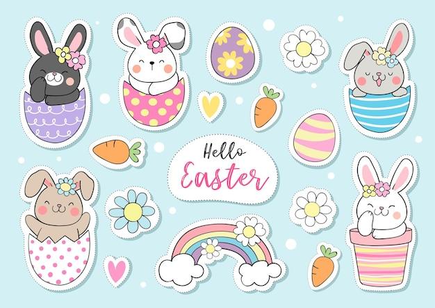 Teken collectie stickers konijntje voor pasen en de lente