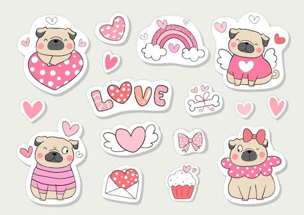 Teken collectie stickers mops hond voor valentijn.