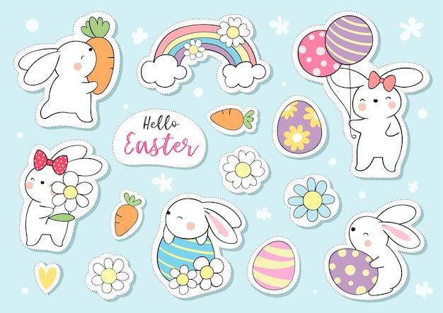 Teken collectie stickers schattig konijntje voor pasen en de lente