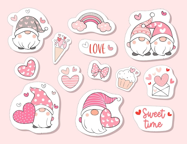 Teken collectie stickers schattige kabouter in valentijn concept.