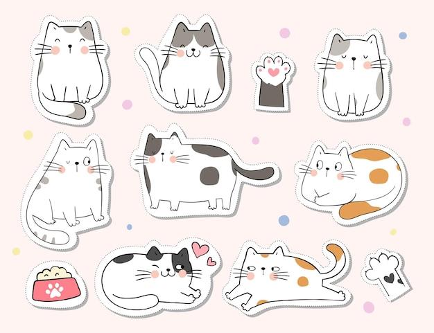 Teken collectie stickers schattige kat voor afdrukbaar