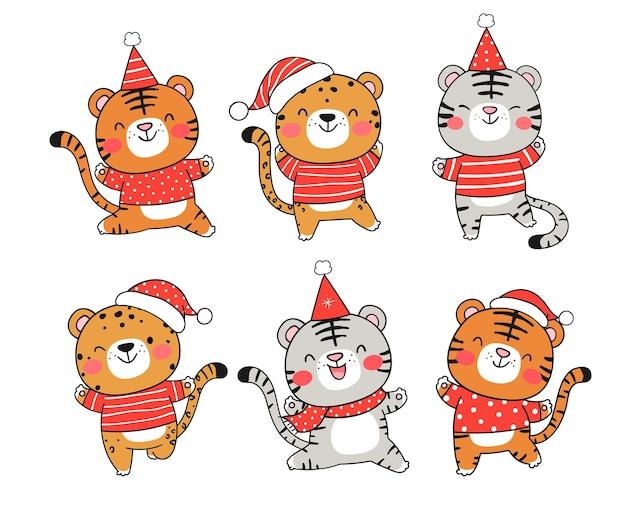 Teken collectie tijger met kerstmuts voor kerstmis en nieuwjaar