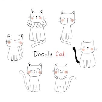 Teken collectieoverzicht schattige kat.