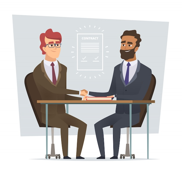Teken contract. zakelijke bijeenkomst verkopende deal handelaren dialoog partnerschap stripfiguren geïsoleerd