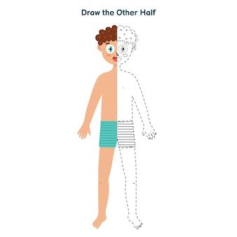 Teken de andere helft van het spel voor kinderen. van punt naar activiteitspagina. verbind de stippen en teken een jongen.