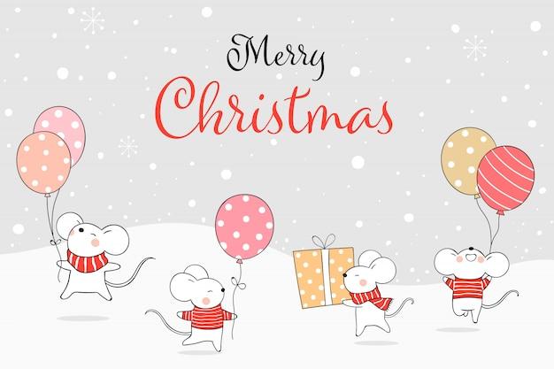 Teken de ballon van de rattenholding in sneeuw voor het nieuwe jaar en de winter.