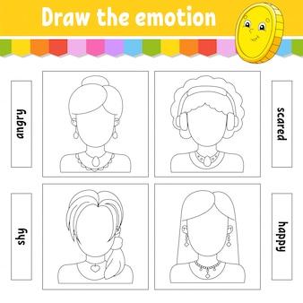Teken de emotie. werkblad maakt het gezicht compleet. kleurboek voor kinderen.