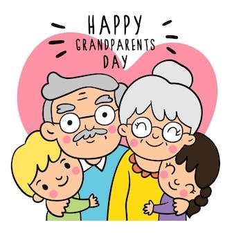 Teken doodle-stijlen van grandparents day.