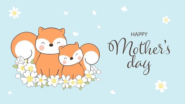 Teken eekhoorn en baby met bloem voor moederdag