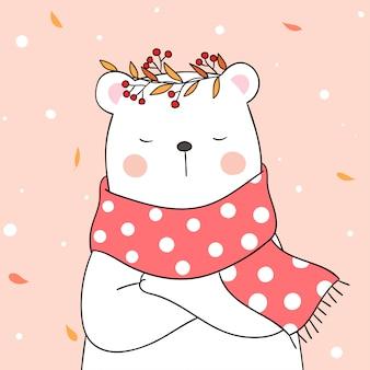 Teken een beer met een mooie sjaal op een zoete pastel voor de herfst.