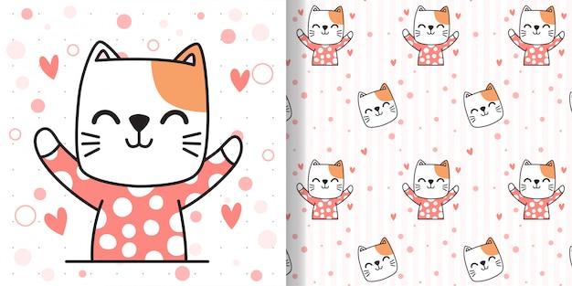 Teken een blije kat. naadloos patroon en wenskaart voor stoffen textiel kinderen afdrukken