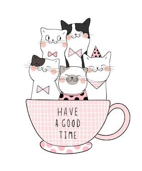 Teken een kat in een kop koffie en het woord heeft het naar zijn zin