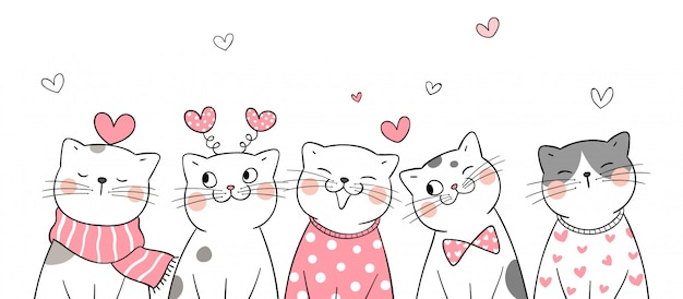 Teken een kat met hartjes voor valentijn.