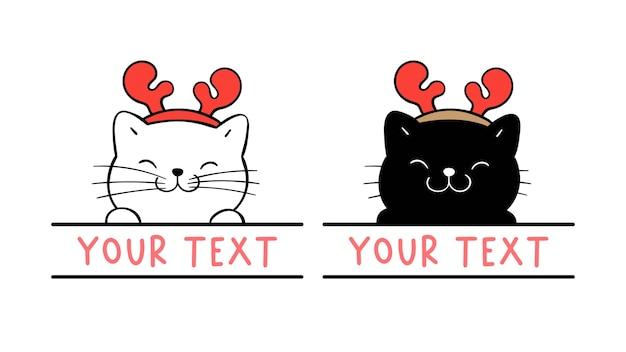 Teken een kattenmonogramframe voor kerstmis en nieuwjaar.
