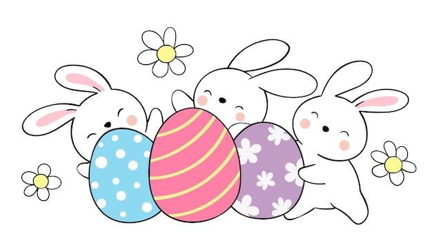 Teken een konijn met eieren voor pasen en de lente