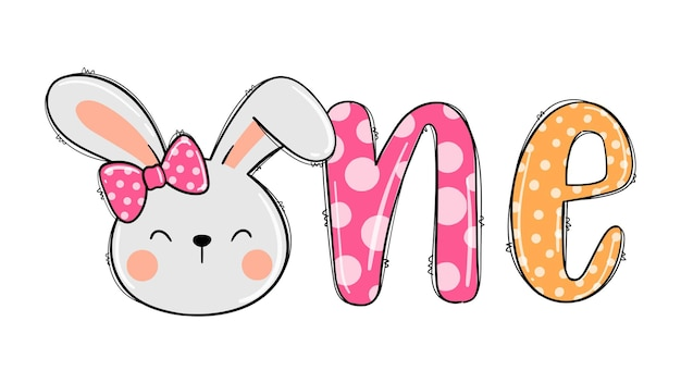 Teken een konijn voor de eerste verjaardag van kinderen afdrukbare meisjesshirt