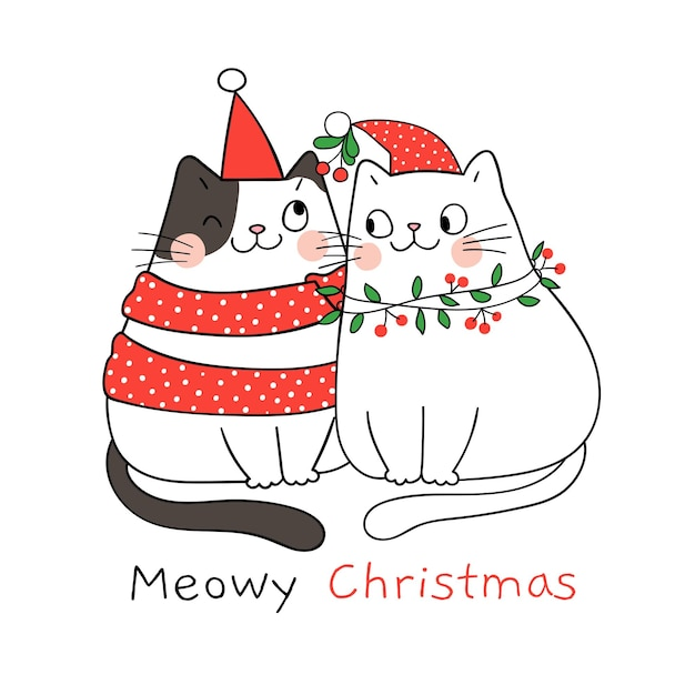 Teken een paar liefde voor kat met een maretak voor kerstmis en nieuwjaar