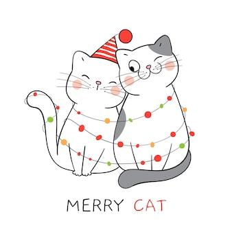 Teken een paar liefde voor katten voor nieuwjaar en kerstmis.